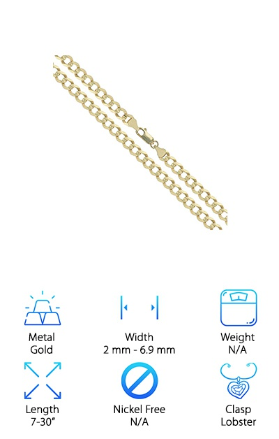 Sac Silver 14k Yellow Gold Curb Chain