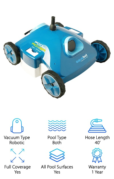 Though most robotic pool vacuums tend to be very expensive, we found a great budget-friendly option called the Aquabot Pool Rover. Despite being incredibly affordable, this robotic pool cleaner has a lot of versatility. While it is designed to clean above-ground pools, it also works well in small in-ground pools. This vacuum comes with a 40-feet cable, and it is capable of cleaning the floor, walls, and coves of your pool. Its sleek design allows it to maneuver around any shapes or obstructions in your pool easily. We love that this pool cleaner has great filtration and suction capabilities. In fact, it is able to filter materials down to 2 microns so you will save a lot of money on pool chemicals that would typically be needed to clean pools with small dirt particles. This vacuum is also boasted to have the strongest pump and suction power in the industry so it will be to pick up more dirt and debris. It works well to clean on all pool surfaces, and it is backed by a one-year warranty. It's an excellent choice with a great price.