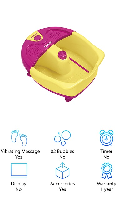 Have you ever been so comfortable that you just don't want to move? Well, the Conair SassyFeet Spa was designed with toe-touch controls so now, you don't have to. Simply by using your foot you can turn on the vibration and activate the heat feature. It comes with a massage attachment and has nodes on the bottom of the spa and on the splash guard. Want to know the best part? This spa was made for pedicures. That's right. Included are the accessories you need to keep your toes looking pretty: toe separators, an emery board, and a pumice stone. Take in-home pampering to the next level. This spa will make sure you get an amazing foot soak and massage and give you what you need for a proper pedicure.