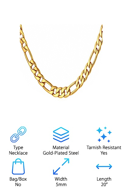 BCM Jewelry Men's Figaro Chain