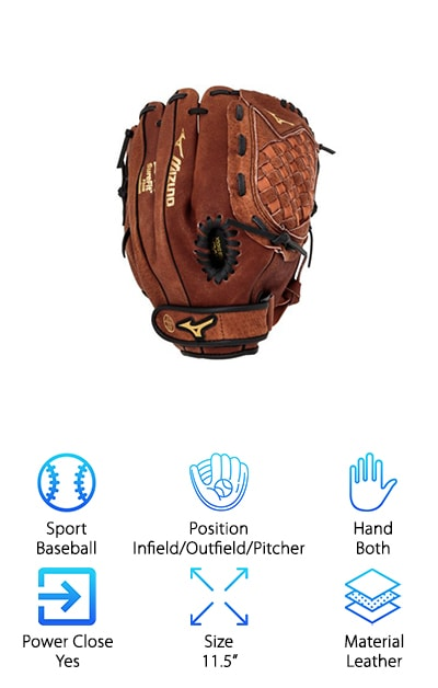 This is a great pick for anyone on the hunt for good youth baseball gloves. This glove comes with power close technology that allows it to close quickly and easily. This makes it a breeze to catch baseballs. This also provides maximum fit and performance from day one. This glove helps young players learn to catch the right way, in the pocket. This means this glove will not create bad habits for your child but will still make the learning process easy and fun for them. This glove comes in configurations for both right and left-handed throwers, making it a great choice for anyone.  It also comes with a V-Flex Notch. This helps initiate easy closure for more catches and fewer drops. The PowerLock technology provides the quickest and most secure fit available. This glove is a great pick for any youth player as it is a powerful glove that will help your child learn to catch properly and love baseball.