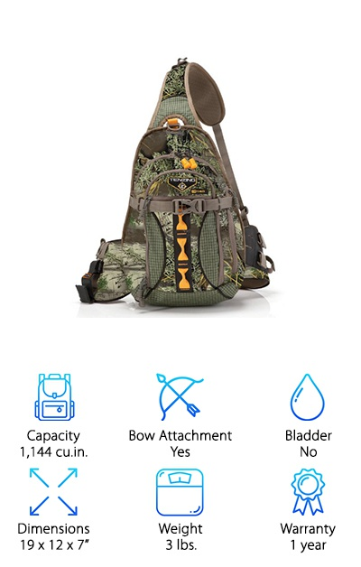 If you want quick access to nearly everything inside your pack, the Tenzing TZ 1140 Sling Pack has it. The sling and side-mounted bow clip designs make accessing your bow easy and fast. There is also a quiver mount that makes grabbing arrows a breeze. And you have a quick-access optics or range finder pocket to grab your directional tools quick and easy. The bag has some other noteworthy features other than speed too. The TZ 1140 features breathable pad that helps to keep you cool. Its single-shoulder design makes for easy removal. The bag is small and compact, ready for any hunter who is light on their feet and not looking to carry much with them. We loved this pack because it makes everything so accessible and easy. It certainly makes hunting even more fun!
