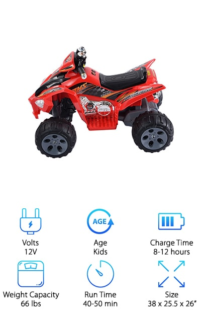When you're looking for the perfect 4 wheeler to add to your child's outdoor toy collection, you want to be sure it's sturdy and fun! Designed to give you peace of mind, while providing a realistic riding experience for your favorite little person, the Giantix features a durable plastic body in an authentic design! Your child will enjoy being able to travel forward and backward and turning left and right! LED headlights and realistic sounds give the feel of a true all-terrain vehicle! Reaching speeds of one to three mph, your little rider will enjoy a thrilling jaunt across the yard, while you easily keep pace. Perfect for kids ages three to eight, the Giantex grows with your family, making it well worth the affordable investment. If you're still on the hunt for the best 4 wheeler for your little adventurer, you can end the search now!