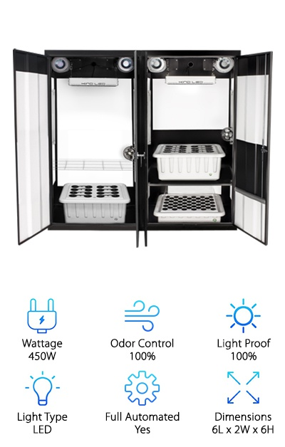 Another huge hydroponics grow box, the Trinity 3.0, features three chambers: a cloning chamber and two vegetative/flowering chambers. Each of the growing chambers features its own 450W Kind LED K3 L450 grow light, plus T5 side lighting. The SuperCloner cloning chamber has two 24W T5 bulbs with an adjustable shelf - with room for up to 50 plants! This grow box is designed to allow you to split your grow, optimizing one chamber for vegetating and the other for flowering. Each of the main chambers can hold up to 16 plants. The SuperPonics watering system combines Top Feed, Deep Water Culture, Bubble, and Aeroponics methods for the best plant growth. A 15-gallon reservoir plus dual air and water pumps keep it all going. Fans ensure good air circulation, while activated carbon filters keep the air that leaves the box smelling fresh. To monitor your room environment, a digital thermometer/hygrometer, TDS meter, and pH adjustment kit are included to keep your plants as happy as possible. Basically, this hydro grow room is ideal for growing a lot at once while remaining space-efficient and secure. Despite its size, it's designed to be easy to maintain, whether you choose to go the hydro root or even just use soil.