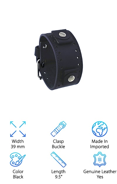 For someone who wants a band that really makes a statement, the Rev Leather Cuff Watch Band is a great choice. It has clasps that not only provide security for the watch you attach but give it a distinct look. This band is certainly a great choice for anyone looking for a very specific style and is a great pick for anyone who loves their watch to stand out as a major part of their style. It is made of genuine leather, so it's sure to feel as good as it looks! The band is 39 mm wide, which means it really stands out on your wrist. The lug width is 22 mm, so it should fit many different watches. It comes with a stainless steel buckle, which only adds to how amazing and unique this band looks. The band is 9.5 inches long, excluding the buckle, so it should fit many different wrist sizes.