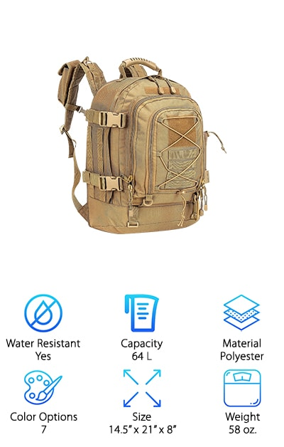 Our final review for our military backpack buying guide comes from Wolf WarriorX, and is a solid bag for your outdoor or everyday needs. It is expandable, holding between 39-64 L of supplies! It is plenty roomy enough to keep extra supplies in the bag, rather than hanging outside of it. It also comes with a pouch on the shoulder strap for your phone and a water bottle holder on the side for easy access. It also has a removable waist belt and a sternum belt to distribute weight better on your back and chest. This is a great bag if you plan to hike or camp in a windy or sandy area because most of what you need fits inside the bag, and the reversible zippers keep extra dirt and dust out. It's an affordable and compact bag for small and large hikers alike, and works perfectly for work or travel!