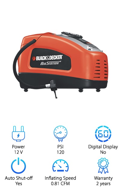 Black & Decker is a trusted name when it comes to household tools and appliances so it's no wonder their portable tire inflator made our list. This will inflate your car, lawnmower, motorcycle, and bike tires and other items like toys, balls, and air mattresses. The pressure gauge is easy to read and illuminated so you can see it even in low light. You can plug it into a regular power socket in your home or use it in your car's cigarette lighter. All you have to do is dial in the pressure you want and it will automatically shut off. It's lightweight and convenient to store, whether you want to keep it with you in your vehicle or at home to use around the house. One more thing, it comes with a 2 year warranty.