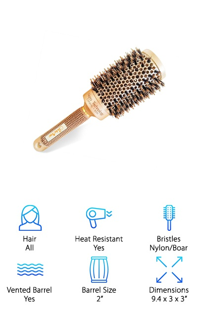 Even the most unruly hair can fall under the spell of a proper boar-bristled brush. The Care Me Brush for Blowouts is a golden beacon of hope for you ladies and gentlemen struggling with a little frizz! It can be used for curling, straightening or blowouts. Use the generously-sized 2-inch barrel for subduing problematic hair or adding volume to fine, thin hair. The vented ceramic barrel will help to distribute the airflow from your hair dryer, which could mean less time spent getting ready and more time actually out and about. Pretty good, right? Even better: the combination of nylon pins and real boar hair bristles means your hair can be held and smoothed, with the boar bristles helping to distribute natural oils from the scalp. This is a salon-quality instrument that you can use in the comfort of your own home. Feel free to put a plant in the corner, and play soft jazz to add to that salon mood!