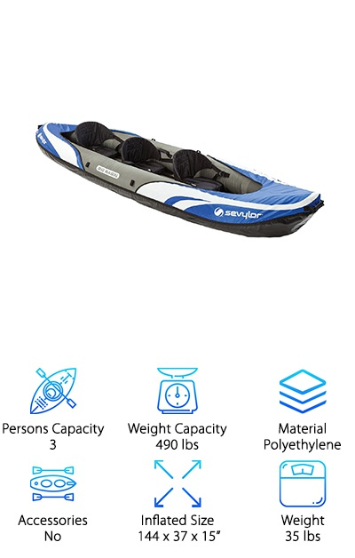 This is another 12 feet long kayak but this one is designed for 3 people. But that's not all. It's comfortably designed for 3 people. Even when you're using all 3 seats, everyone has enough room. That said, if you want to remove a seat, you can! Imagine how much room you'll have in this inflatable kayak then! The tarpaulin bottom is puncture resistant and, just to be on the safe side, the multiple air chambers allow it to stay afloat even if one has punctured. The seats are adjustable and spray covers help you stay dry while you're out on the lake. Despite its giant size, it weighs only 35 lbs. One great thing about this kayak is how stable it feels. It stays even and keeps the course.