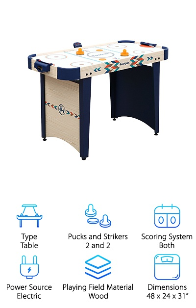 If you love air hockey but don't have room in your home for a full-sized table, this is a great alternative. It's compact, great for kids, and even has some cool vibrant graphics on the side for a little extra flair. It has both a manual and electronic scoring system so you can use whichever you like best. It comes complete with 2 pucks and 2 strikers. They're bright orange and match the design of the table really well. In fact, that might be what we like the most about this one. It's the best air hockey table for home because you won't mind having it in your living room. The design is nice to look at, the colors are great, and it's something everyone will love.
