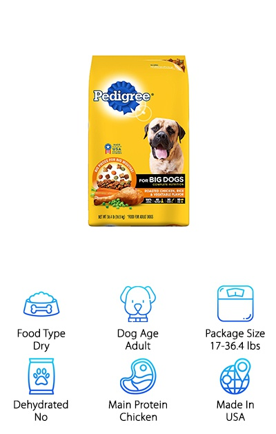 This large breed dog food from Pedigree is available in 17-, 30, and 36.4-pound bags. This dog food derives most of its protein content from chicken, with meat, bone, and poultry by-product meal providing glucosamine, calcium, and chondroitin for joint and bone health. Golden retrievers as a breed don't have many health issues, but they are more likely to suffer from joint disease. Fiber helps keep digestion easy, and other nutrients like omega-6, antioxidants like vitamin E, and more help to support the immune system, skin, and coat health. Keep in mind that if your pup has allergies or sensitivities to corn or other grain products, this dog food contains corn and wheat as carbohydrate sources. This dog food offers a solid nutritional base and a great value thanks to the large package size options. It also helps clean your dog's teeth and limit tartar and plaque!