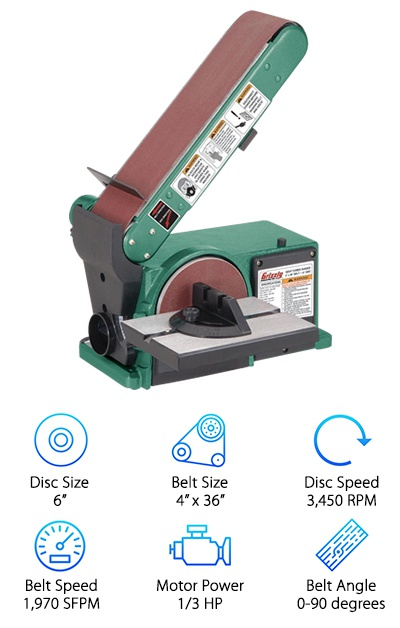 "We wanted to include the Grizzly G0547 in our belt/disc sander reviews because it is an affordable, high-performing combination sander. It is designed to be a stationary sander fit for a work bench, but you wouldn't know that from the price. With this sander you get a disc that is six inches in diameter. The belt, on the other hand, is 4"" x 36"". As you can see, this is a mid-sized combination saw, and it has an appropriately powered motor. The motor is ⅓ HP, so it can easily move the disc at 3,450 RPM and the belt at 1,970 SFPM. If you need to sand any precise angles, you can make adjustments between 0 and 90 degrees. We think that this belt disc sander would be perfect for anyone looking for a compact sander. It provides all the work effort and efficiency you would get out of larger options, but it doesn't take up nearly as much space. The bottom line is this: you will have a harder time finding a better quality, compact belt disc sander to fit in a small workspace."