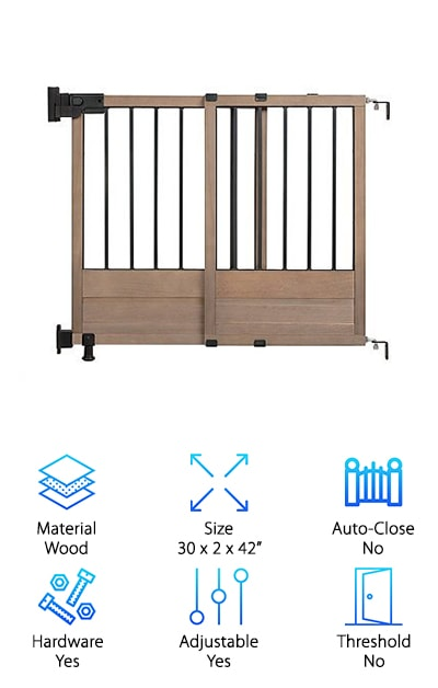 The HomeSafe Top of Stairs Gate offers one of the most unique looks of the entire bunch. You will love it if you enjoy the look of rustic chic. This gate will look at home in a cabin or a mansion. It is built in a sliding barn door style, and it is made from wood. The dark wood has a vintage appearance which makes it timeless. The gate measures 30 inches high, and it will fit doorways 29 to 42 inches across. There is no threshold, so you don't need to worry about tripping! The doorway opening is unusually large. Mounting hardware is included, so you can easily put it in places like the top of the stairs. If that's where you place it, it can be set up to swing open in only one direction. Otherwise, it can swing in both directions. The comfort grip makes a one-handed release a cinch. Enjoy this unique baby gate!
