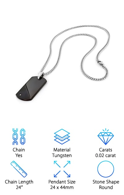 This necklace from West Coast Jewelry features a simple but handsome design with a 0.02 carat H-I carbide white diamond embedded in a glossy black engravable dog tag. If you're looking for a customizable diamond men's necklace, the engravable dog tag design might be a perfect fit for your needs. The tungsten chain measures 24'' and has a lobster clasp for easy on and off. Tungsten is a great metal choice since it is affordable yet harder and more durable than titanium and has a more weighty feel that some people prefer. It has a polished gunmetal gray color that won't tarnish over time like silver--perfect for the guys that are rough on their jewelry! One thing to consider is that tungsten is less allergy-friendly than titanium and other metals, so keep that in mind if your guy has reacted to metal jewelry in the past.