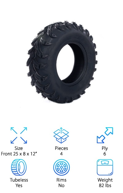 Here's a set of 4 tires for you if you're ready to do a complete replacement. Do you want to ramp up the performance of your ATV? This is a great set that deserves a closer look. The tread on these BestRoad tires is pretty aggressive. It's deep and wide-spaced to cut through mud and other more treacherous terrains. These tires give you a nice, smooth ride, too and respond quickly to acceleration and braking. There are knobs on the shoulders for extra grip that offer a little extra protection to the walls and wheels. And that's not all. Even the material is top notch. They're made of an extended-wear rubber compound that will last a long time and is particularly tough against punctures and abrasions.