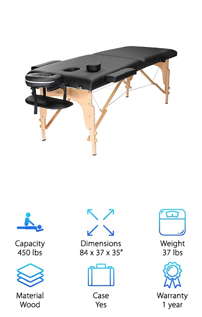 To wrap up our top 10 portable massage table reviews, we wanted to make sure to include another budget-friendly option, and the Saloniture Massage Table seemed like the perfect product to do so. As with the rest of our cheap tables, this version does not sacrifice quality for the sake of offering a lower price. In fact, we think that you will be just as impressed as we were by the sturdy hardwood frame. It is supported by steel support cables to give you even more confidence. The height of this table can be adjusted easily between 24.5 and 34.5 inches, so you can find a suitable height for any use. The high-density foam cushioning is two inches thick, so your clients can rest comfortably and enjoy their treatment. Here's the best part: the cheap massage table still gives you the ability to detach the headrest, arm sling, and armrests, so you can get the best fit for each client's needs.