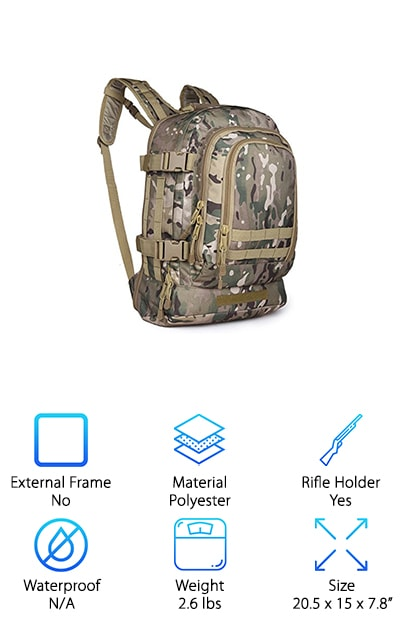 Looking for backcountry hunting packs? This is the one for you! LQ Tactical Hunting Backpack is the perfect blend of rugged and lightweight. This three-day expandable pack is constructed of high quality 600 Denier polyester material. This makes it durable and ready for anything. It has heavy oversized zippers and tabs that help you keep everything secure and organized. The expandable main compartment has multiple gear pouches and is Molle compatible. This makes this pack the perfect option for anyone who needs to truly customize their pack. The main compartment can expand from 39 to 64 liters easily. This makes this pack a perfect fit for people who need something seamless and easy to use. Some of the pockets even come with organizer pockets inside to help you keep everything exactly where you need it. This reduces the time you spend fumbling around and looking for things when you're hunting.