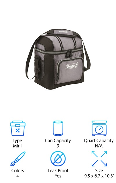 Looking for something to take to work? If you want to pack up a lunch, bring along a couple of drinks, or just keep a few things cold, the Coleman Soft Cooler mini collapsible cooler is perfect! This fabric cooler has a main zippered pouch that holds up to nine cans, and it also features a couple of pockets on the outside for extra storage. It comes with a convenient shoulder strap for easy carrying. You can use either ice or ice packs in this leakproof cooler. The seams are heat-welded to keep everything cool inside and to keep your ice from leaking to the outside. And the best part is that this lightweight cooler fights germs with a sweet antimicrobial lining! This amazing cooler is our favorite cooler for everyday use; it even fits pretty easily in the fridge!