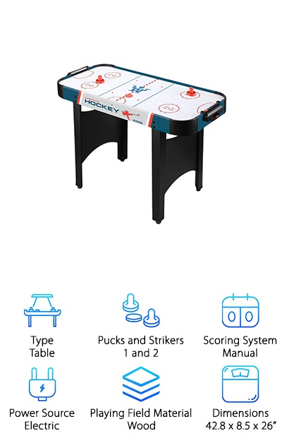 If you're looking for another option that's good for the kids, check out this Westminster Air Hockey table. It's a simple design that won't take up too much space in your living room. It's also not so small that you won't be able to play along. If your kids are ready for something more than a tabletop air hockey table, this is a nice step up. It will give your kids a more realistic playing experience than a tabletop game while still being a good size for them to be able to enjoy playing. The manual scorekeeping system is easy to control, too. Overall, this is a sporty looking table and the bright, playful colors only add to the fun experience.