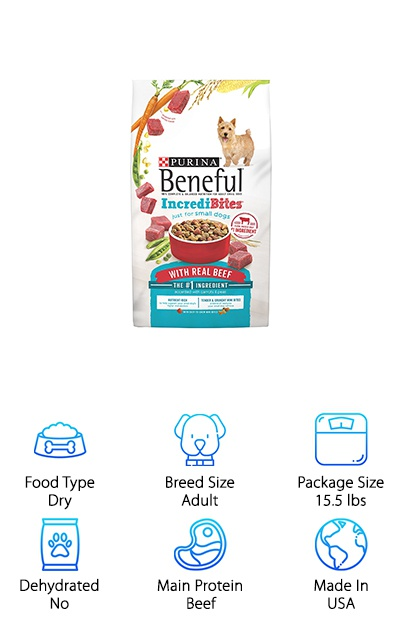 Small dogs have higher metabolisms. That's why they need small dog recipes and Purina IncrediBites is one of the best. What makes it so great? For starters, farm-raised beef is the first ingredient. That's not all, though. To make it a little more interesting, this recipe has two different textures. Your dog will love the crunchy kibble and soft, tender bits. Not only that but it's the perfect size for your dachshund's mouth! In addition to real farm-raised beef, your dog will love the real carrots and peas. This blend has a lot of protein - 27 grams in each cup! Perfect for helping your dachshund grow strong, lean muscles. And get this: there are also 23 essential vitamins and minerals in every serving. This bites really are incredible.