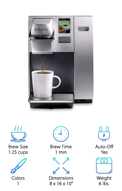 To wrap up our reviews, we present you with the impressive Keurig K155 Commercial. It is the perfect option for anyone looking to bring a single-serving brewing machine into a professional setting. The reservoir can hold up 11.25 cups of water so that you can get plenty of use out of one filling. It allows you to choose between brewing 0.5, .75, 1, and 1.25 cups, and it comes with a removable drip tray, which allows you to fit larger cups under the dispenser. If you want to have more customization options, you will be glad to know that it also comes with a full-color LCD touchscreen, so you can adjust the brewing temperature. Other programmable features on this model include language and clock time, and it comes with the automatic on/off feature. When you purchase this product, you will get a sample pack of 12 different K-cup pods. This is the perfect Keurig machine for making a lot of drinks.