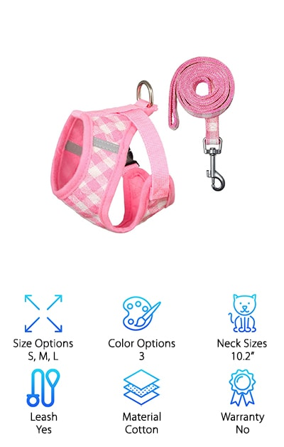 The PetetPet Cat Harness actually works for small dogs as well and comes with the harness itself and a leash to attach to it. It comes in three different sizes as well as three different colors to keep your pet more comfortable and has a small frame design that covers less of their body, keeping them cooler in the warm weather. There's still plenty around the upper body to help balance out the weight of the harness and the pressure of the leash as well as providing comfort. The plaid pattern is cute to look at and it's padded to provide more soft material. The strips across the back of the harness are reflective so your pet will be safer even walking in the dark and it's adjustable around the chest to make sure it fits just the right way without being too tight for your kitten or puppy.