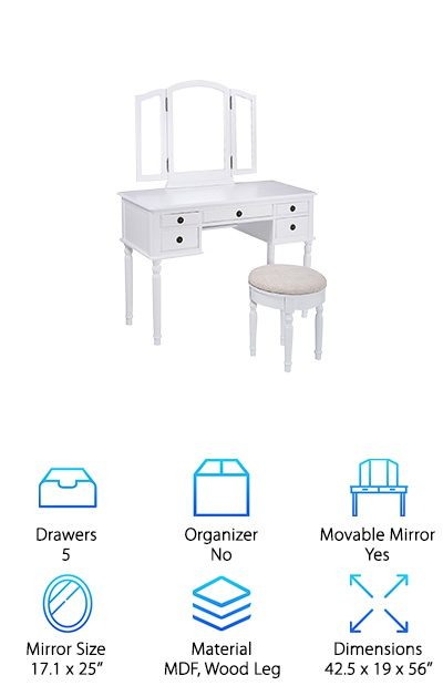 This white makeup vanity comes with five drawers for organized storage and a tri-fold mirror to help you check out your look from every angle. The central mirror is 17'' wide and 25'' high, while the side mirrors are 7.8'' wide. The side mirrors are on hinges for easy adjustment. The vanity also comes with a matching cushioned stool with a white base and a light beige cushion that matches easily with any decor. Round pull rings on the drawers with a dark brass finish provide a unique accent while keeping the vanity's profile sleek. The 42.5'' by 19'' table provides plenty of room for displaying jewelry, brushes, or your favorite eyeshadow palettes. If you're looking for an inexpensive vanity that will fit right in with your bathroom or bedroom, this choice from Giantex should work well! It's ideal for people who need average to minimal storage space for their products.