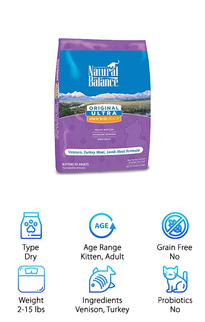 Natural Balance Ultra Whole Body Health dry cat food isn't specifically formulated for cats with digestive issues, but the gluten-free formula can be helpful to cats with sensitive stomachs. The Venison, Turkey Meal, & Lamb Meal formula contains no corn, wheat, or soy ingredients. It provides carbohydrates and fiber from brown rice, oats, pea fiber, and oat fiber. High-quality protein from venison, turkey meal, chicken meal, lamb meal, and more provides a minimum of 34% crude protein. It also provides antioxidants and minimum levels of omega fatty acids to add a boost of nutrition. DHA and EPA are also supplemented to support brain health. If your cat seems to have some mild digestive issues, a simple change to a high-quality cat food can help. Beyond providing a complete diet for your cat's nutritional needs, this Natural Balance cat food is made with the good stuff, no fillers!