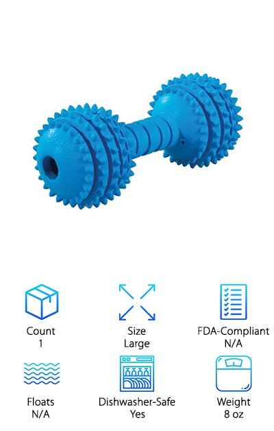 The JW Chompion rubber dog chew toy comes in small, medium, or large sizes for puppies and small breeds to large breed dogs. Made of 100% rubber that's certified non-toxic, this durable toy has a ton of different possibilities for your chewer. The nubs on either end of the toy provide a fun chewing sensation and help clean your dog's teeth, and the dumbbell shape makes it fun to toss around and bounce during interactive play time. You can also stuff treats, peanut butter, and other goodies into the end of the dumbbell to send your dog on a solo mission to dig out every last bit! This rubber toy is naturally tough and is great for teething puppies or dogs that love a good chew. Especially powerful and destructive chewers may find the dumbbell design and nubs a little too easy to destroy.