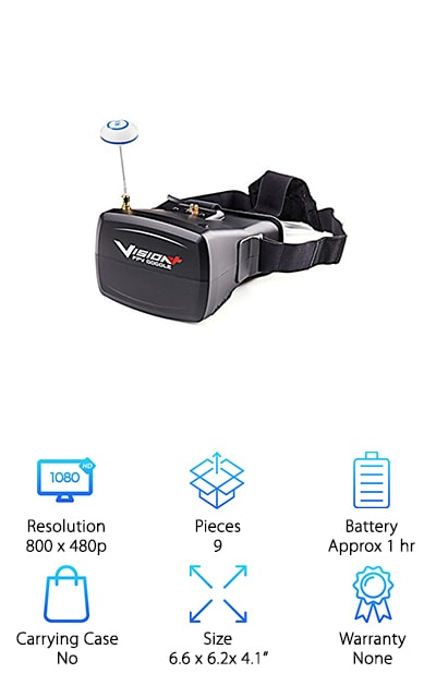 This is a great pick for anyone on the lookout for cheap FPV goggles. These goggles are the perfect choice for anyone who wants high resolution on a budget. they are plug-and-play so you can take them right out of the box and start using them. They are incredibly lightweight so you can take them anywhere you need to go. The 5-inch monitor as a magnification lens to let you get close to the action. These goggles also come with neoprene foam cushioning stripes. These Stripes help to add comfort and stability to the goggles. They also have a fully adjustable 3-position head strap that allows you to choose a configuration that is perfect for you. These goggles are made with a durable and lightweight plastic design so you'll never have to worry about buying another pair. The on-screen menu has adjustable brightness, contrast, and color controls. It also comes with a built-in 40 channel receiver. You can auto select between the integrated receiver or the external video source.