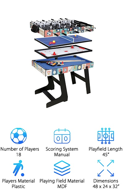 If you thought the 3-in-1 table is cool, you're going to love this one! The Funmall Multi-Function 4-in-1 Table has four great games: air hockey, pool, ping pong, and foosball. The four games stack on top of each other to save space while still giving you access to all these fun games. The tabletops are all made from quality fiberboard. It comes with everything you'll need to get started, including billiard balls, cue sticks, brush, chalk, soccer balls, rackets, net, tennis balls, and the strikers and pucks for hockey. Although the foosball table isn't full-sized and only has 18 men, it certainly has full-sized fun! So if you're looking for a 4-in-1 space-saving game table, this one is pretty near perfect. We love the Funmall Multi-Function 4-in-1 Table, and we're pretty sure you will too!