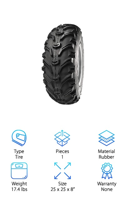 Let's say you love riding your ATV on the beach or on the dirt trails behind your house but you want to take it up a level. You've decided you want to get messy and muddy but you know you need to get the right gear. For aggressive ATV mud tires, check out the Kenda Bearclaw. These are some of the most affordable all-terrain ATV tires around. The wide tread is angled for extra grip and the whole tire is reinforced to prevent punctures. There's also a built-in rim guard to protect your rim and wheel from wear and tear of direct damage. As for steering, you have a lot of control over where these tires go because of the center lugs that help the tires stay in control.