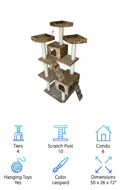 Sheba will finally feel like a true queen when she climbs atop this leopard-print tree. Reasonably priced and generously sized, cats will feel like royalty perched on any one of the 4 levels provided. They can keep up with kitty maintenance by utilizing any one of the 10 scratching posts, and then they can saunter to sleep by picking from one of 6 different bed options. Cat heaven must look something like this! That's not all: the tree can support multiple larger cats who love playtime. If you're worried your pets are running out of things to do, the Go Pet product will revitalize their free time and get them occupied again. The leopard print is definitely a highlight, and will match your room's creams, browns and beiges effortlessly. A cat house that coordinates and keeps your animals busy all day long sounds like a real win, doesn't it? Now, you can introduce this high-value item to your very own rabble-rousing crew.