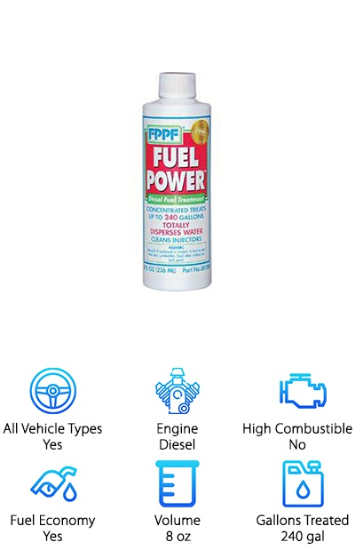 The FPPF 90100 Diesel Treatment is a concentrated formula that can treat up to 240 gallons of fuel, all packed into an eight-ounce bottle! Although designed specifically for diesel engines, this strong choice for the best diesel fuel injector cleaner can also be used for some gasoline engines if diluted further. This fuel system cleaner disperses water and cleans the injector system, reducing waxing, gelling, gum, and varnish issues. It reduces cylinder wall abrasion and contains a combustion catalyst as well as fuel stabilizers to help improve your fuel economy and driving experience. If you deal with snow and cold weather, a fuel system cleaner that helps control icing is a great weapon to add to your arsenal to prevent gelled fuel! It's recommended for common rail injection systems. It's especially ideal for older diesel engines that struggle to use low-sulfur diesel fuel efficiently. If you have large vehicle tanks and need a little boost during the cold months, this option from FPPF has rave reviews!