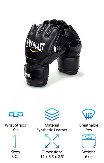 "These MMA grappling gloves from Everlast are designed for grappling, competition training, and mitt work. The gloves come in S/M or L/XL sizing options. Women and others with smaller hands will generally prefer the smaller size for a better fit. The grappling gloves are made from synthetic leather with almost an inch of padding over the knuckles, plus reinforced seams and finger slots. The elastic cuff helps the gloves fit closely to your hands, and the hook-and-loop full wrist wrap strap provides support and security. Thanks to the EverFresh antimicrobial treatment, you can avoid odors and ""glove stank"" due to sweat buildup. Some people use them with punching bags, but they leave most of your fingers exposed for getting a better grip while grappling. The gloves come in a soft zippered mesh bag that's a great everyday carry bag to let the gloves dry out between uses."
