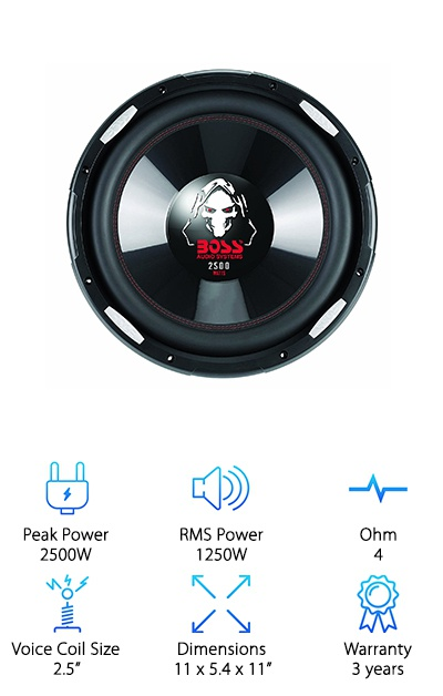 The Boss Audio P156DVC features a poly-injection cone, high-temperature aluminum voice coil, and butyl rubber surround designed to take a lot of abuse. All you need is a 7.75-inch mounting depth, and who cares about the rest! This cheap subwoofer has the high wattage you need to blast some serious bass. It has a sensitivity SPL of 87dB, efficiency of 96dB, 38 Hz port frequency, and a resonant frequency of 21 Hz. It comes unenclosed so you can choose your own box. It's hard to beat the low, intense sound you can get with these Boss Audio subwoofers for the price!