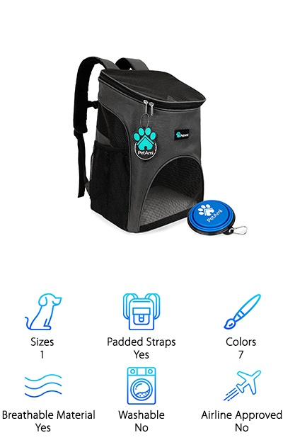 Want a bag that comes in a ton of colors? The PetAmi Premium Pet Carrier is a breathable, durable pet carrier that comes in seven colors! It comes in black, gray, blue, pink, purple, red, and light blue. This is designed to comfortably fit most small pets, whether they are cats or dogs, or something else. Any small pet you want to bring around with you will most likely be super comfortable in this little carrier. It's like a little portable cage for your best friend! It's well-ventilated with big mesh windows for your pet to see out of and be able to breathe through. And the best part? It comes with a free, collapsible bowl for your pet to drink from! This awesome carrier is designed to be great for travel, walks, hikes, or even just a comfortable trip to the vet.