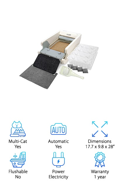 The Littermaid Litter Box Mega System has everything you need to keep your house cleaner and your litter box less of a hassle. Designed for households with more than one cat or even those whose cats are over 15 pounds, the system has an automatic rake that makes the cleaning process easier. There's even a safety bar that stops the rake if there's any kind of blockage so there's no chance of damage or of harm to your cat. The extra-large bin has high walls so it's comfortable for your cat and keeps the litter in. The ramp also helps with this, as well as helping your cat in and out. Waste is pulled into a waste bin that you can easily pull out and dump when needed. Each time your cat uses the box it triggers the sensor, which then starts the cleaning cycle (after 10 minutes). This pulls all the waste out of the way. It keeps the bin smelling better and cleaner for your cat.