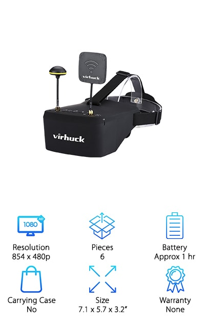 These goggles by Virhuck are some of the best FPV goggles for racing. They offer an ergonomic and practical design so they fit you well. This allows you to focus on racing and not on your goggles. These goggles come with a 5-inch screen that can be used separately as a small monitor on a radio controller or a tripod. the HD screen has 854 by 480P HD brightness and resolution. This makes it the perfect choice for FPV racing or for model airplanes. These goggles use a real-time operating system with a built-in 5.8 gigahertz receiver. That uses two types of antennas- linear and Omni. These antennas allow you to get the best signal every time. These goggles also have an auto searching function who allow you to connect to the best network. The two path receiver and help you achieve lower lag in your wireless connectivity. The view angle is super wide, up to 82 degrees.
