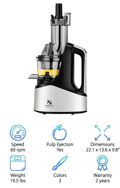 This vertical masticating juicer from Natalie Styx has a similar design to the SKG Masticating Juicer, with an extra-large three-inch mouth and chute. It is available in blue, pink, and silver and has a sturdy 240-watt motor. The juicer comes with fine and thick juicing attachments, and you can seal the juice container during juicing to prevent early oxidation. The spare parts are all made of TRITAN food grade anti-oxidation materials. This juicer is also BPA-free and certified by the ROHS to be lead-free, too. Other certifications include one from the FDA, the UL, the ETL, GS, and CE - various safety and food quality organizations, basically.
