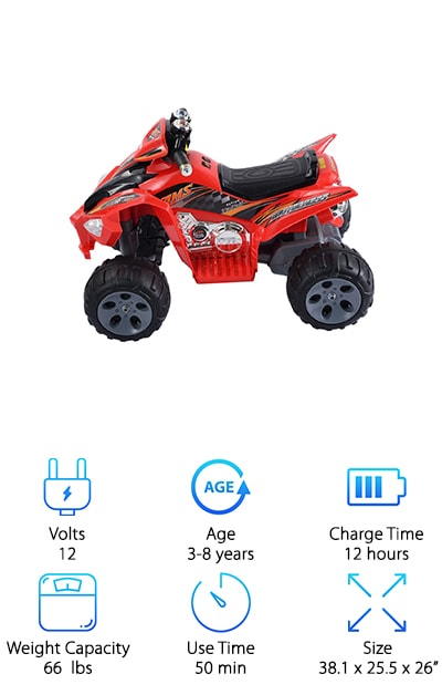 The Giantex Kids ATV is a youth 4 wheeler that can grow with your child. Recommended for ages 3 to 8 up to 66 pounds, your kid is going to love riding this for many years. The body is made of durable plastic and just looks really fierce. It's bright red with black accents and has working LED headlights. One thing that we really like about this one is something kids will like, too. It has working music and sound buttons. Specifically, there's a horn. And what kid doesn't like blowing a horn? It has safety measures in place, too. The speed is adjustable from 1.8 to 3 mph so your little rider won't be able to go too fast but will still get an awesome experience.