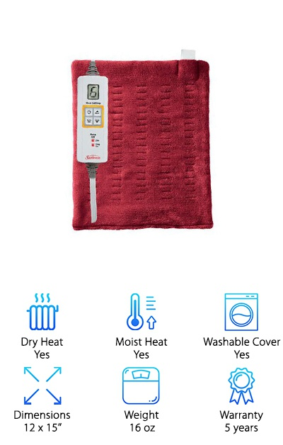 The Sunbeam Xpressheat heating pad is a lightweight heating pad with a great five-year warranty. It heats up in just 30 seconds and can be used with dry or moist heat--just spritz water on the cover for deep, penetrating moist heat. A digital controller lets you select from six heat settings and set a timer for the pad to turn off automatically after two hours. The cover is made from microplush on one side and SoftTouch velour-feel polyester on the other side, and you can remove it for washing if it gets dirty. Whether you need some extra heat on cold days or like to use heat therapy for aches and cramps, the Sunbeam Xpressheat is a fast-acting way to take care of both issues! The two hour off setting is great for warming up your bed as you fall asleep. This soft and flexible heating pad is an inexpensive product with a great value.