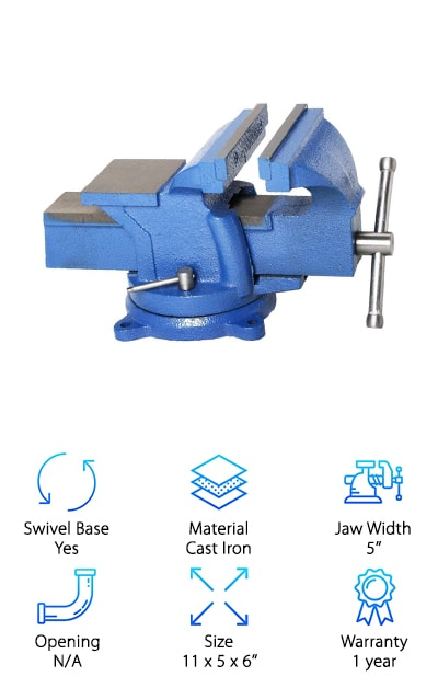 If you're looking for an inexpensive but solidly built bench vise, the Topeakmart 5'' cross slide bench vise is made from durable painted cast iron. It mounts quickly and is totally stable with a swivel locking base. It opens wide and has a strong, thick main vice handle. The swivel design allows it to rotate up to 90 degrees with a touch of lubrication for smooth movement. If you're looking for the best workbench vise with a low price, this option requires a little fiddling at first but is a great option for light to medium-duty work. It is a great workshop tool to have around for light milling and other activities. If you're looking for high tolerances and need a symmetrical, perfectly straight result, this cross slide vise may not be your best option since it has a relatively average tolerance and some play at any position.