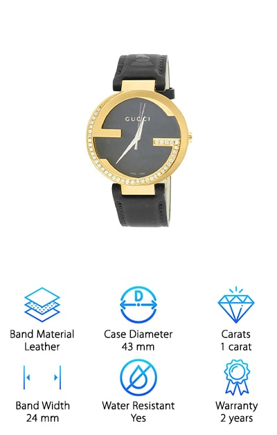 "Real gold diamond watches are rare and special – an endangered species. There is a way, however, to make them even more extraordinary. Our reviewers love the Gucci GRAMMY Diamond Watch because it is customized. There are no other watches like it on Earth. The designer starts with a GG Gucci Watch, which incorporates only the best: A true Swiss quartz movement. The dial is black, with grooves for texture. The jeweler takes one full carat's worth of diamonds and applies them to the bezel in a ""G"" shape. They are set after being checked for color and clarity. The case is stainless steel with a yellow gold finish, measuring 43 millimeters in diameter. It connects to a black leather band, which will grow more supple with age. It is 24 millimeters wide, and it carries the Grammy logo. This watch comes with a diamond appraisal certificate and the original Gucci box. Be sure to get this jaw-dropping look for yourself!"