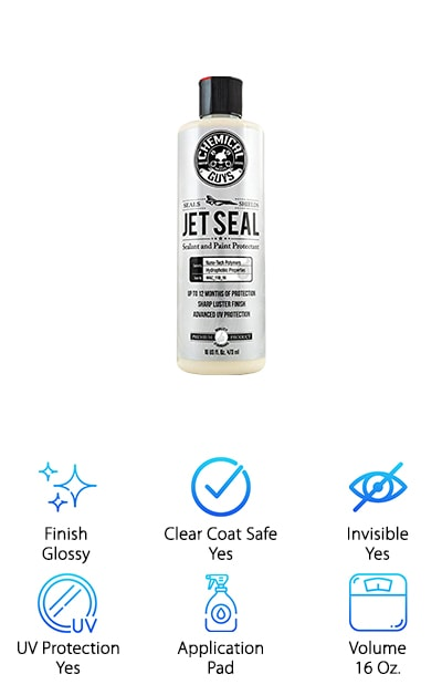 Chemical Guys JetSeal Anti-Corrosion Sealant was not originally created for use on cars. The scientists behind this hugely popular formula actually came up with it for use in the aerospace industry. What will work on a jet moving hundreds of miles an hour will also work on your sedan or truck! With countless positive reviews, this item is a real winner. This anti-corrosion sealant dries to a glossy finish. It is clear coat safe and provides UV protection for the items it is applied to. In other words, the sun will beat down on your car, but your paint will not fade or get splotchy if you use Chemical Guys as prescribed. Apply it with a pad, and the first time you use it, you want to put on two coats. Wait at least 20 minutes in between those coats for the first application to dry. This sealant comes in a 16-ounce bottle. That's plenty to try it for yourself!
