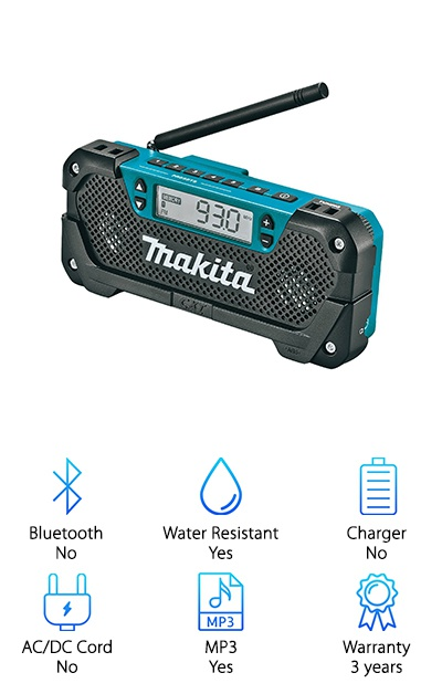 If you're looking for something pretty company, check out this jobsite radio from Makita. First of all, it only weighs 1.7 pounds. Its narrow design makes it easy to keep it out of the way while you're working. And get this: it has a rotating hook for easy hanging. That's not all. You can use the AUX port to plug in your MP3 player or smartphone or tune it into any AM/FM station of your choice. The rubber antenna is short but powerful. Why is that good? You don't need to worry about worksite activity getting in the way or adjusting a long antenna to keep the music playing. Plus, there are even 10 radio presents and a headphone jack in case you wanted to listen to something privately.