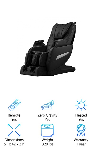 There are smart options out there. This includes this Full-Body chair, arguably best full body massage chair available, simulates the experience of having a massage. How? It gives you the benefit of a hug-like massage on all sides, at the same time, its Shiatsu massage has finger-like point technology that stimulates your muscles. A sensor helps find the shoulder and apply the right pressure to make you relaxed. The chair features four massage settings: relax, extend, recover, and refresh. Also, the chair also features a roller massage on the feet, increasing blood circulation and improving immunity. The heated chair heats the waist area, which helps those with problems in their back, waist, hips, and thighs. These people will enjoy the benefits of a maximum massage.