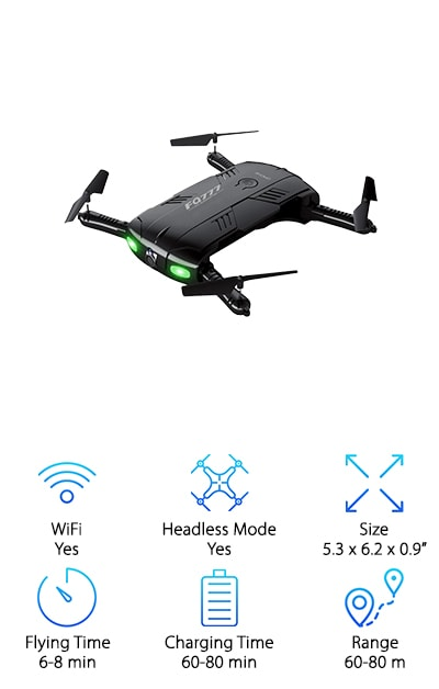 On the hunt for something truly special in the world of cheap drones with camera? This easy to use and portable quadcopter is the perfect starter drone for any beginner. It includes everything a beginner needs to get started flying drones. The remote controls have notes printed which makes it incredibly easy to learn what all of the different functions do. It also comes with headless mode which optimizes proper functionality even when you can't see your drone. It even includes a one key return home function which means the press of 1 button brings the drone back to you. It also includes a powerful air pressure hold function that allows you to release the throttle and enables the drone to hover while maintaining its height. Its compact design packs easily into the compact craft box that comes with the drone. This makes it easy to carry and transport from place to place.