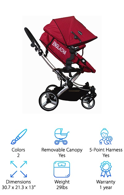 The Englacha Easy Stroller is available in red or black and has a removable canopy for easy cleaning and visibility. This fully reclining umbrella stroller has a seat that can be adjusted to face right or left or fully reclined into a bassinet for diaper changes or naptime on the go. It's one of the rare strollers that recline flat! The extra-large canopy can be set into three positions and has a peek-a-boo window for keeping an eye on your little one. The leg rest is adjustable, so you can keep your kiddo comfortable as they grow. The seat is removable and washable for spills and other accidents, too! A front bumper bar is removable, but a handy extra if Junior is an escape artist or likes to sit up and look around. Front and rear-wheel suspension help to absorb bumps and make it over rough terrain. This stroller also folds up into a compact size with an auto folding hook, making transportation a breeze!