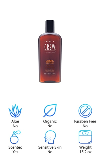 Next on our list of best shower gels for men is American Crew Deodorant Body Wash. Some of the ingredients are derived from raw vegetables which help eliminate the microorganisms and bacteria that will lead to bad odors. This is a salon brand that was created in 1994 as a way for men to put more effort into their appearance while being able to feel manly. It was an idea that took off and it still going strong more than 10 years later. This body wash soothes and deep cleans your skin leaving you feeling crisp and fresh for the day ahead. One more thing, the scent is a little different than the others that we've reviewed so far. Rather than having notes of tobacco and various woods, it has a crisp peppermint smell.